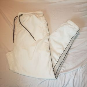 Revamped white rutched track pants with stripe XL